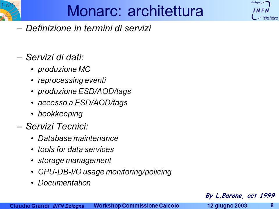 Claudio Grandi INFN Bologna 12 giugno 2003 Workshop Commissione Calcolo 9 Definizione di Tier-1 e Tier-2 –Un centro regionale tier-1 fornisce tutti i servizi tecnici, tutti i servizi dati per l'analisi ed è in grado di fornire almeno un'altra classe di servizi dati –Un RC tier-1 è dimensionato in rapporto al CERN –Dimensioni iniziali tra il 10 e il 20 % del CERN (singolo esperimento) –100,000 SI95, 150-300 boxes, 100 TB di disco, 0.2-0.3 PB su nastro –Evoluzione nel tempo –Tutti gli ESD/AOD/Tags –Tutte le calibrazioni –Bookkeeping aggiornato –Parte dei Raw Data ??.
