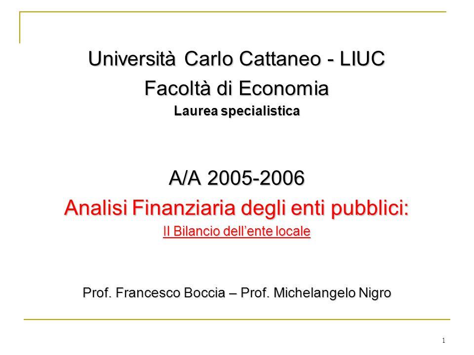 1 Università Carlo Cattaneo - LIUC Facoltà di Economia Laurea specialistica A/A 2005-2006 Analisi Finanziaria degli enti pubblici: Il Bilancio dell'ente locale Prof.