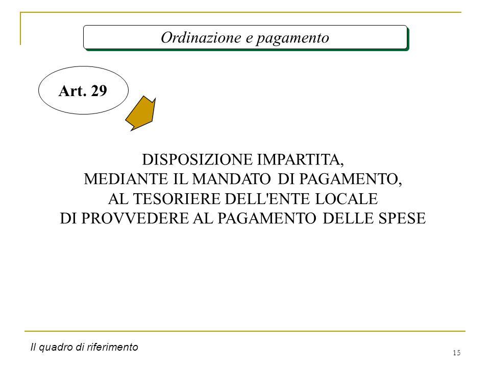 15 Ordinazione e pagamento DISPOSIZIONE IMPARTITA, MEDIANTE IL MANDATO DI PAGAMENTO, AL TESORIERE DELL ENTE LOCALE DI PROVVEDERE AL PAGAMENTO DELLE SPESE Art.