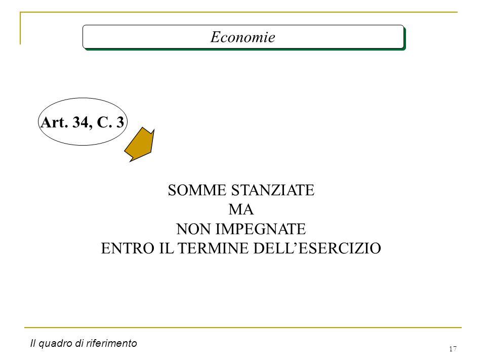 17 Economie SOMME STANZIATE MA NON IMPEGNATE ENTRO IL TERMINE DELL'ESERCIZIO Art.