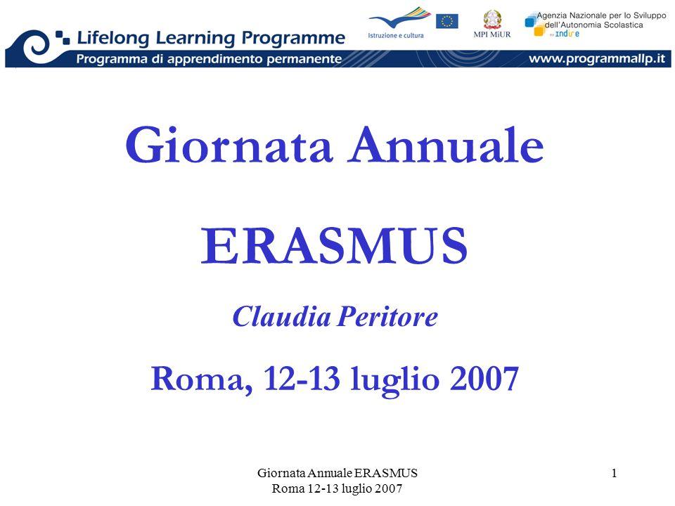 Giornata Annuale ERASMUS Roma 12-13 luglio 2007 1 Giornata Annuale ERASMUS Claudia Peritore Roma, 12-13 luglio 2007