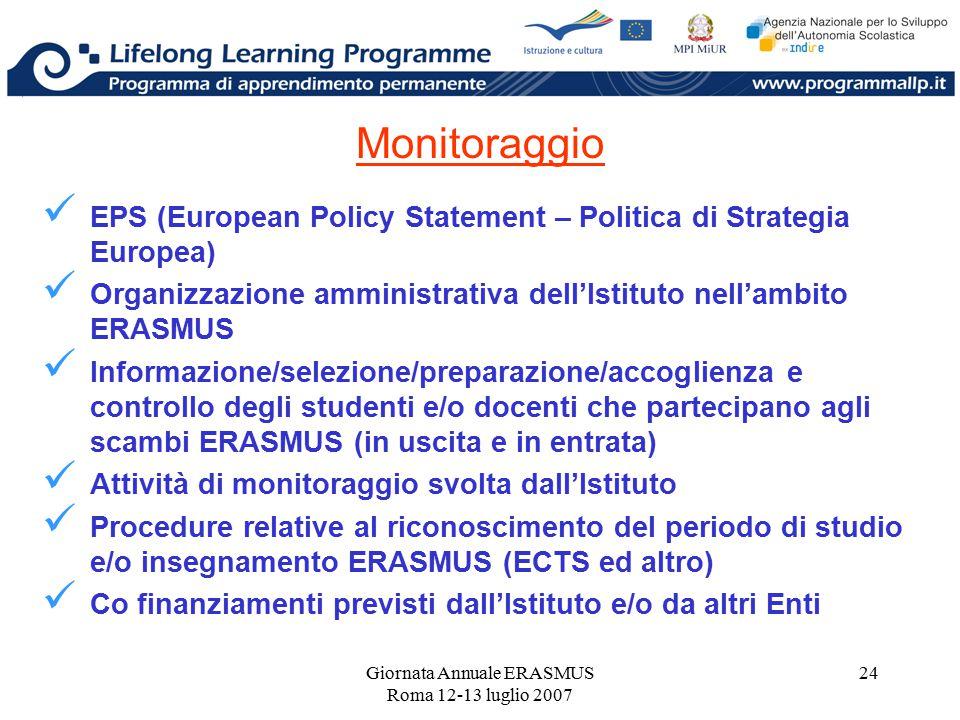 Giornata Annuale ERASMUS Roma 12-13 luglio 2007 24 Monitoraggio EPS (European Policy Statement – Politica di Strategia Europea) Organizzazione amminis