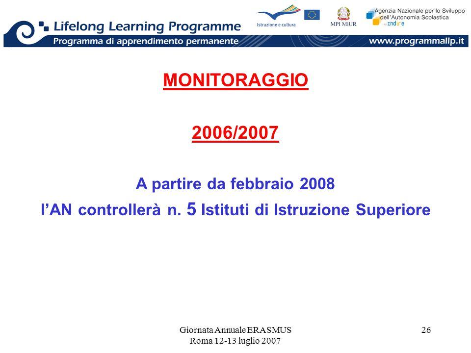 Giornata Annuale ERASMUS Roma 12-13 luglio 2007 26 MONITORAGGIO 2006/2007 A partire da febbraio 2008 l'AN controllerà n. 5 Istituti di Istruzione Supe