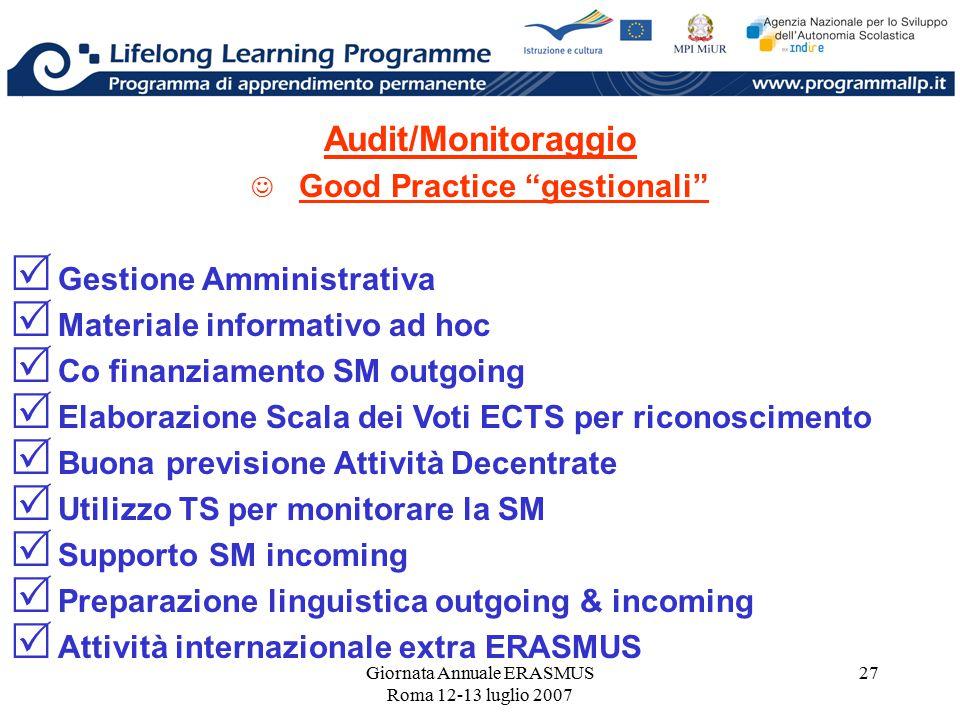 """Giornata Annuale ERASMUS Roma 12-13 luglio 2007 27 Audit/Monitoraggio Good Practice """"gestionali""""  Gestione Amministrativa  Materiale informativo ad"""