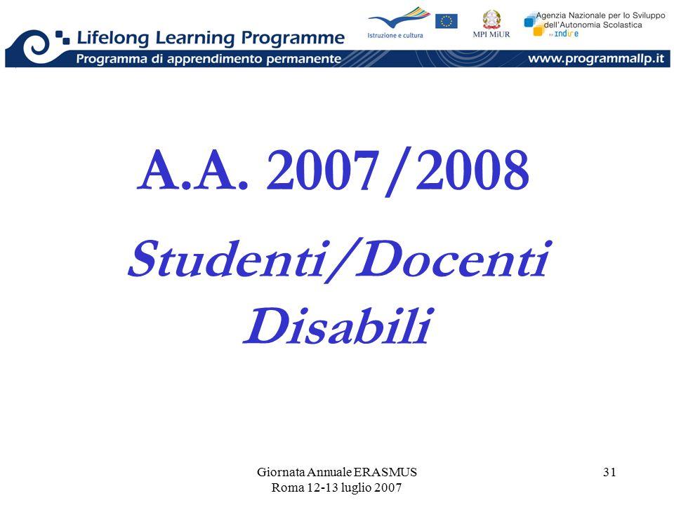Giornata Annuale ERASMUS Roma 12-13 luglio 2007 31 A.A. 2007/2008 Studenti/Docenti Disabili