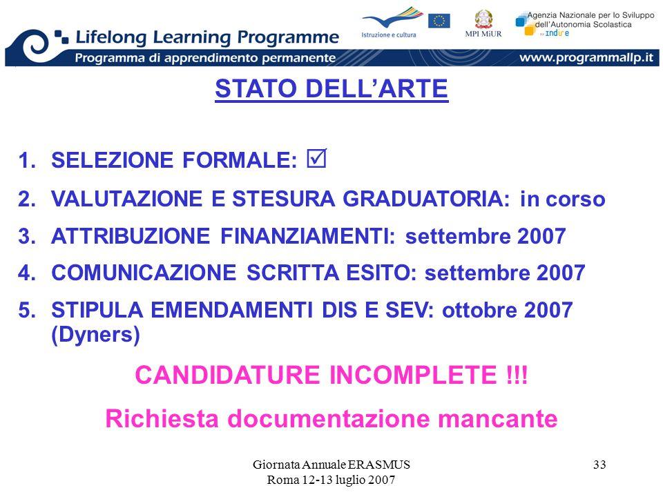 Giornata Annuale ERASMUS Roma 12-13 luglio 2007 33 STATO DELL'ARTE 1.SELEZIONE FORMALE:  2.VALUTAZIONE E STESURA GRADUATORIA: in corso 3.ATTRIBUZIONE