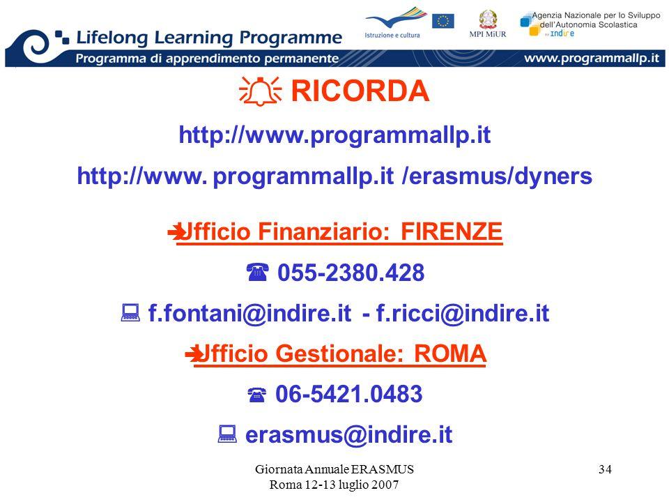 Giornata Annuale ERASMUS Roma 12-13 luglio 2007 34  RICORDA http://www.programmallp.it http://www. programmallp.it /erasmus/dyners  Ufficio Finanzia