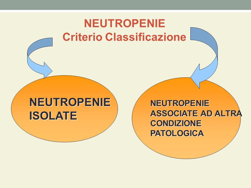 NEUTROPENIE Criterio Classificazione NEUTROPENIEISOLATE NEUTROPENIE ASSOCIATE AD ALTRA CONDIZIONEPATOLOGICA