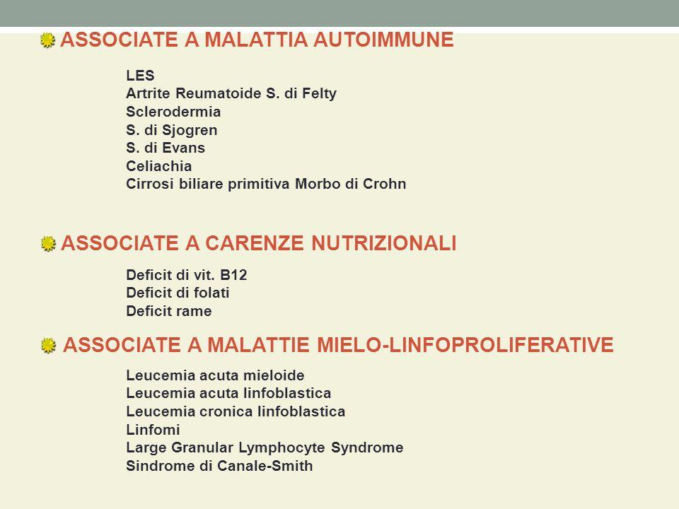 ASSOCIATE A MALATTIA AUTOIMMUNE ASSOCIATE A CARENZE NUTRIZIONALI ASSOCIATE A MALATTIE MIELO-LINFOPROLIFERATIVE LES Artrite Reumatoide S. di Felty Scle