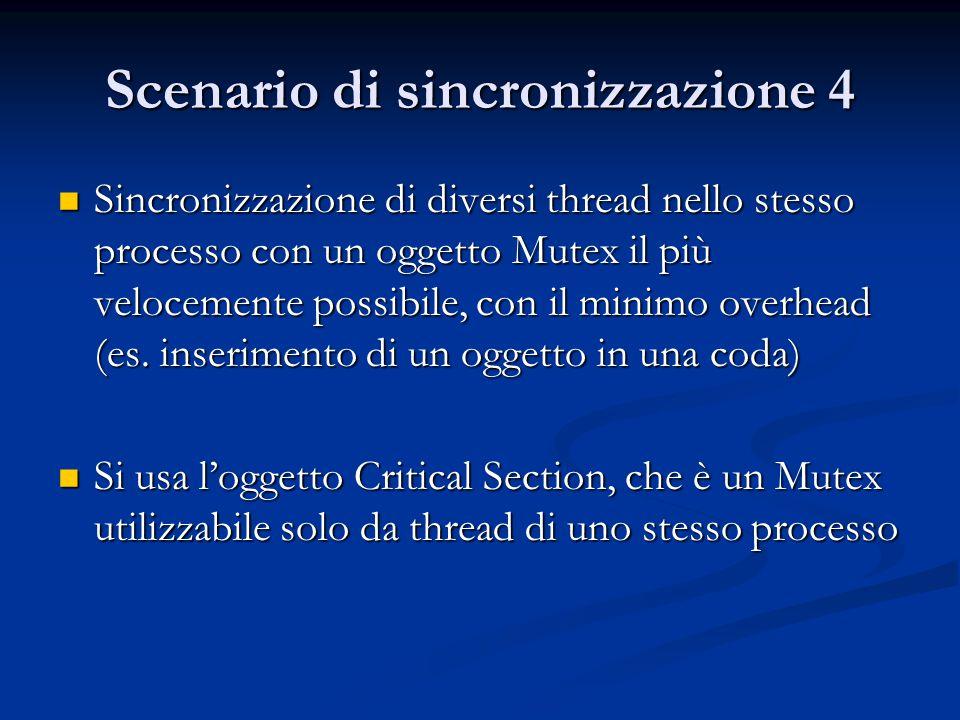 Scenario di sincronizzazione 4 Sincronizzazione di diversi thread nello stesso processo con un oggetto Mutex il più velocemente possibile, con il mini