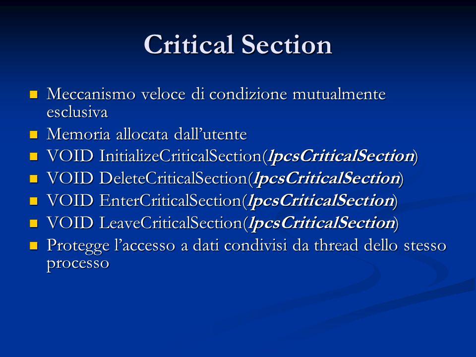 Critical Section Meccanismo veloce di condizione mutualmente esclusiva Meccanismo veloce di condizione mutualmente esclusiva Memoria allocata dall'ute