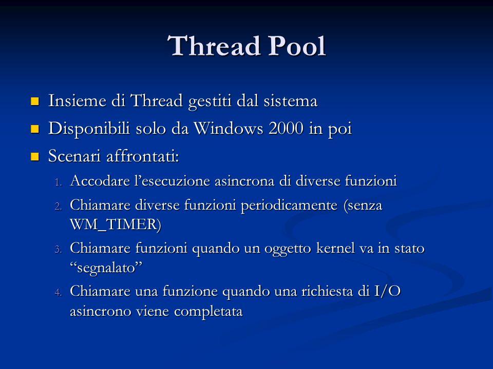 Insieme di Thread gestiti dal sistema Insieme di Thread gestiti dal sistema Disponibili solo da Windows 2000 in poi Disponibili solo da Windows 2000 i