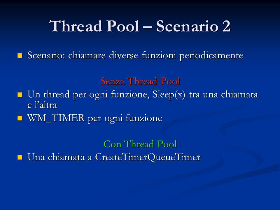 Thread Pool – Scenario 2 Scenario: chiamare diverse funzioni periodicamente Scenario: chiamare diverse funzioni periodicamente Senza Thread Pool Un th