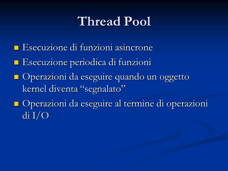 Thread Pool Esecuzione di funzioni asincrone Esecuzione di funzioni asincrone Esecuzione periodica di funzioni Esecuzione periodica di funzioni Operaz