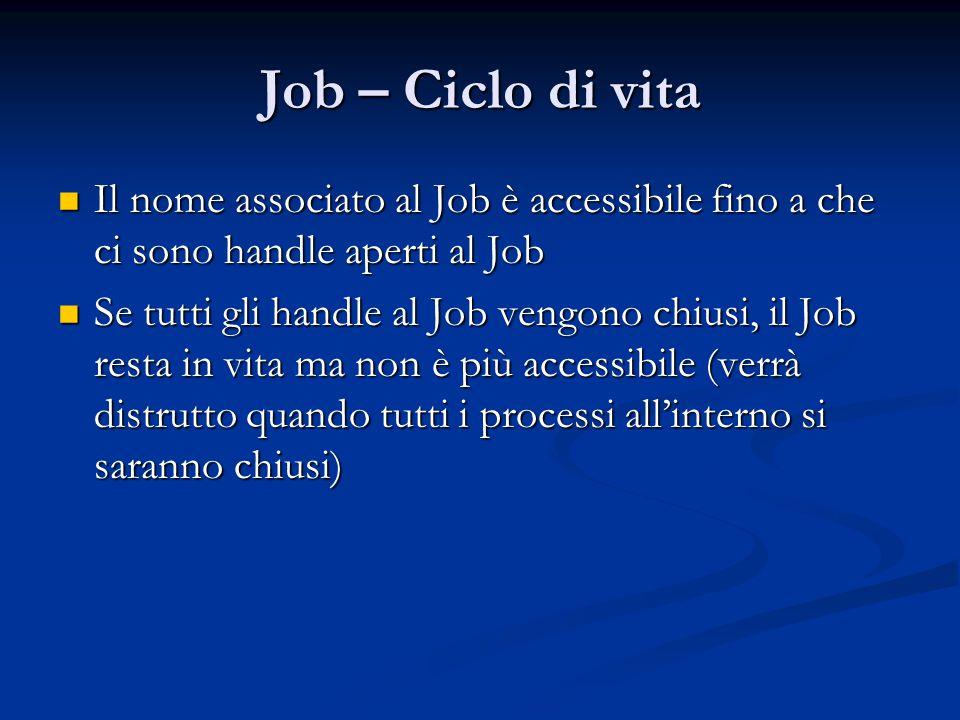 Job – Ciclo di vita Il nome associato al Job è accessibile fino a che ci sono handle aperti al Job Il nome associato al Job è accessibile fino a che c