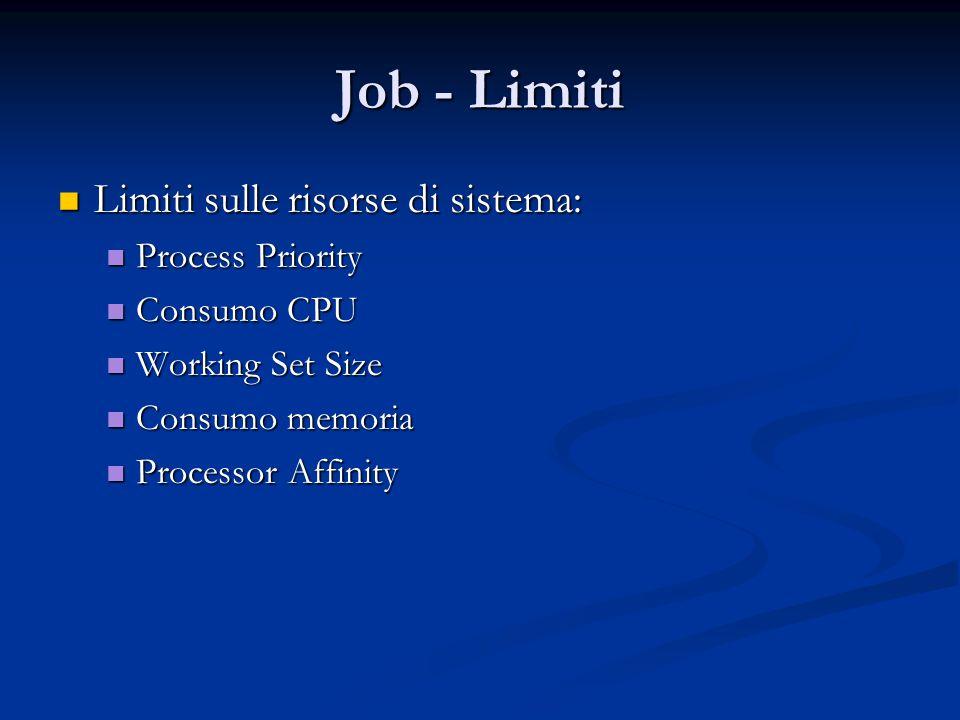 Job - Limiti Limiti sulle risorse di sistema: Limiti sulle risorse di sistema: Process Priority Process Priority Consumo CPU Consumo CPU Working Set S