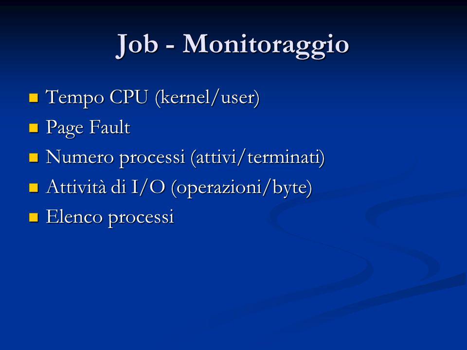 Job - Monitoraggio Tempo CPU (kernel/user) Tempo CPU (kernel/user) Page Fault Page Fault Numero processi (attivi/terminati) Numero processi (attivi/te