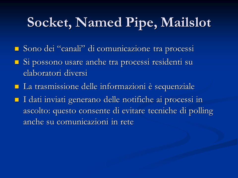 """Socket, Named Pipe, Mailslot Sono dei """"canali"""" di comunicazione tra processi Sono dei """"canali"""" di comunicazione tra processi Si possono usare anche tr"""