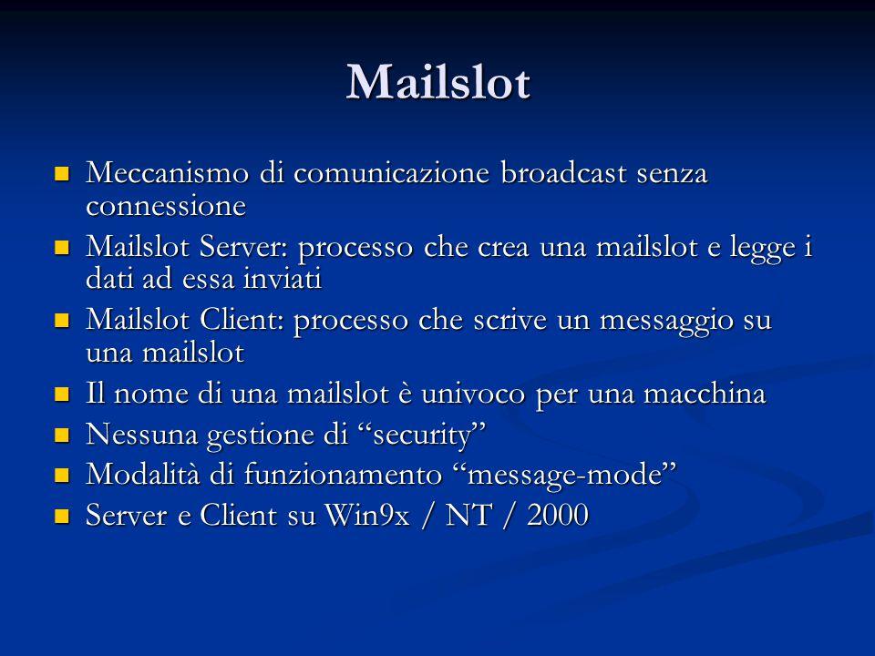 Mailslot Meccanismo di comunicazione broadcast senza connessione Meccanismo di comunicazione broadcast senza connessione Mailslot Server: processo che