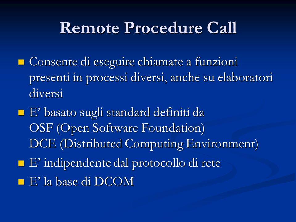 Remote Procedure Call Consente di eseguire chiamate a funzioni presenti in processi diversi, anche su elaboratori diversi Consente di eseguire chiamat