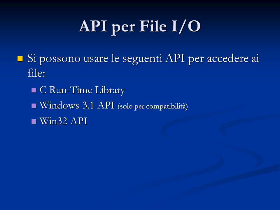 API per File I/O Si possono usare le seguenti API per accedere ai file: Si possono usare le seguenti API per accedere ai file: C Run-Time Library C Ru