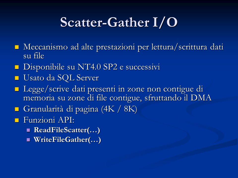 Scatter-Gather I/O Meccanismo ad alte prestazioni per lettura/scrittura dati su file Meccanismo ad alte prestazioni per lettura/scrittura dati su file
