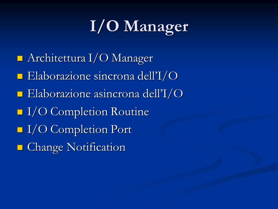 I/O Manager Architettura I/O Manager Architettura I/O Manager Elaborazione sincrona dell'I/O Elaborazione sincrona dell'I/O Elaborazione asincrona del