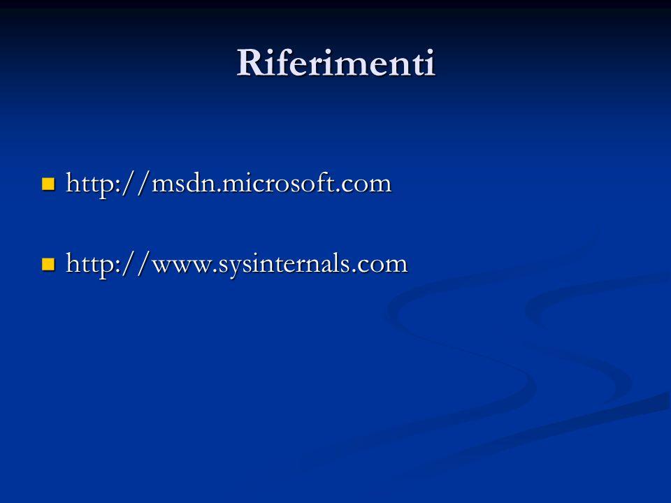 Riferimenti http://msdn.microsoft.com http://msdn.microsoft.com http://www.sysinternals.com http://www.sysinternals.com