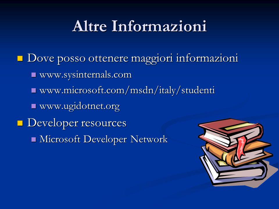 Altre Informazioni Dove posso ottenere maggiori informazioni Dove posso ottenere maggiori informazioni www.sysinternals.com www.sysinternals.com www.m