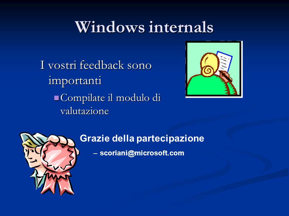 Windows internals I vostri feedback sono importanti Compilate il modulo di valutazione Compilate il modulo di valutazione Grazie della partecipazione