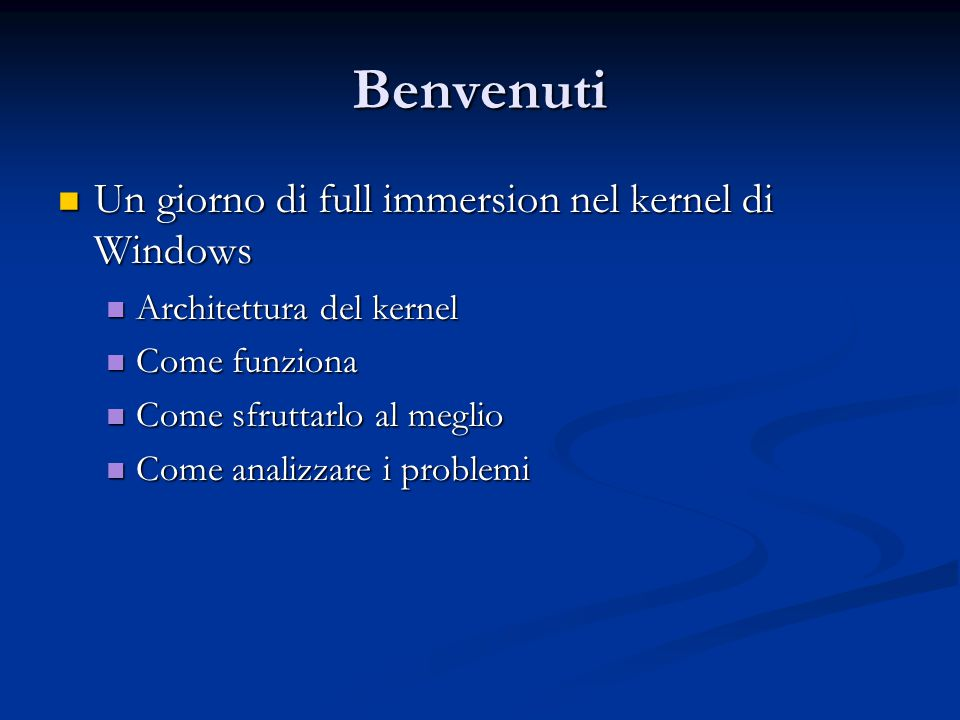 Agenda Architettura kernel di Windows Architettura kernel di Windows Gestione della memoria Gestione della memoria Processi Processi Thread Thread Thread pool Thread pool Jobs Jobs Interprocess communication Interprocess communication Overlapped I/O Overlapped I/O Domande & Risposte Domande & Risposte
