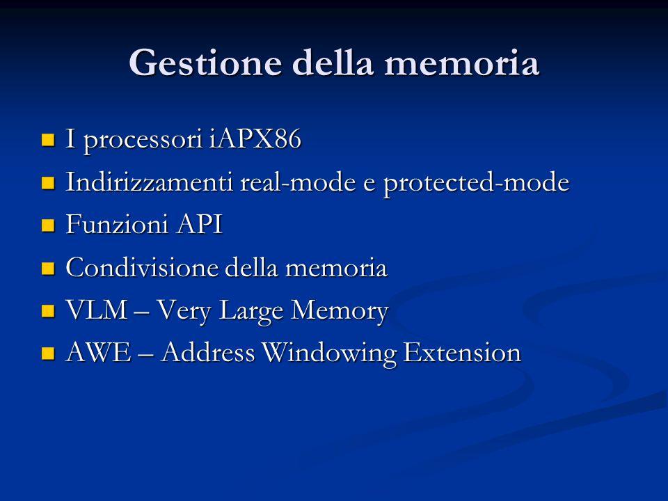 Gestione della memoria I processori iAPX86 I processori iAPX86 Indirizzamenti real-mode e protected-mode Indirizzamenti real-mode e protected-mode Fun