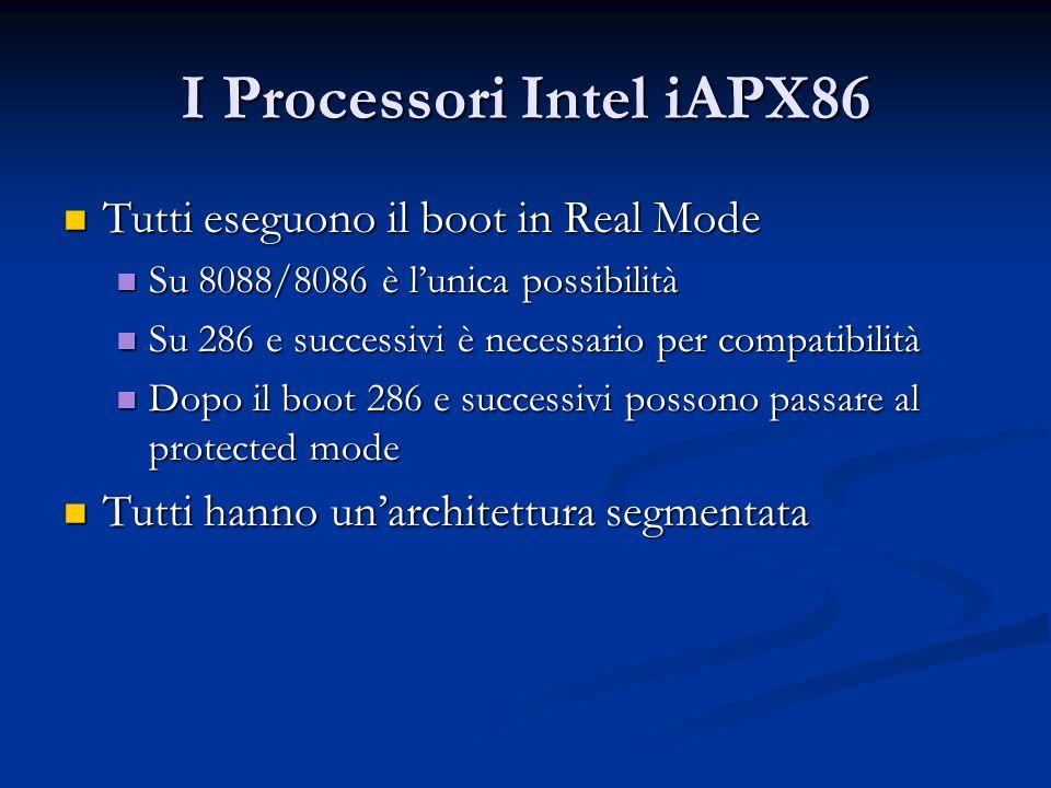 I Processori Intel iAPX86 Tutti eseguono il boot in Real Mode Tutti eseguono il boot in Real Mode Su 8088/8086 è l'unica possibilità Su 8088/8086 è l'