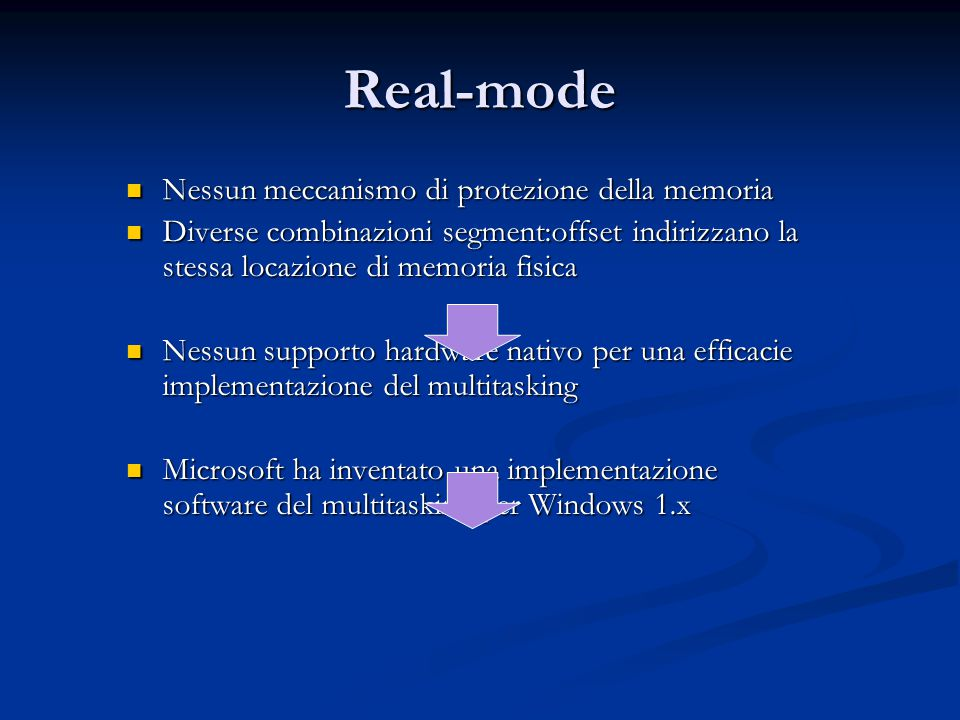 Real-mode Nessun meccanismo di protezione della memoria Nessun meccanismo di protezione della memoria Diverse combinazioni segment:offset indirizzano la stessa locazione di memoria fisica Diverse combinazioni segment:offset indirizzano la stessa locazione di memoria fisica Nessun supporto hardware nativo per una efficacie implementazione del multitasking Nessun supporto hardware nativo per una efficacie implementazione del multitasking Microsoft ha inventato una implementazione software del multitasking per Windows 1.x Microsoft ha inventato una implementazione software del multitasking per Windows 1.x