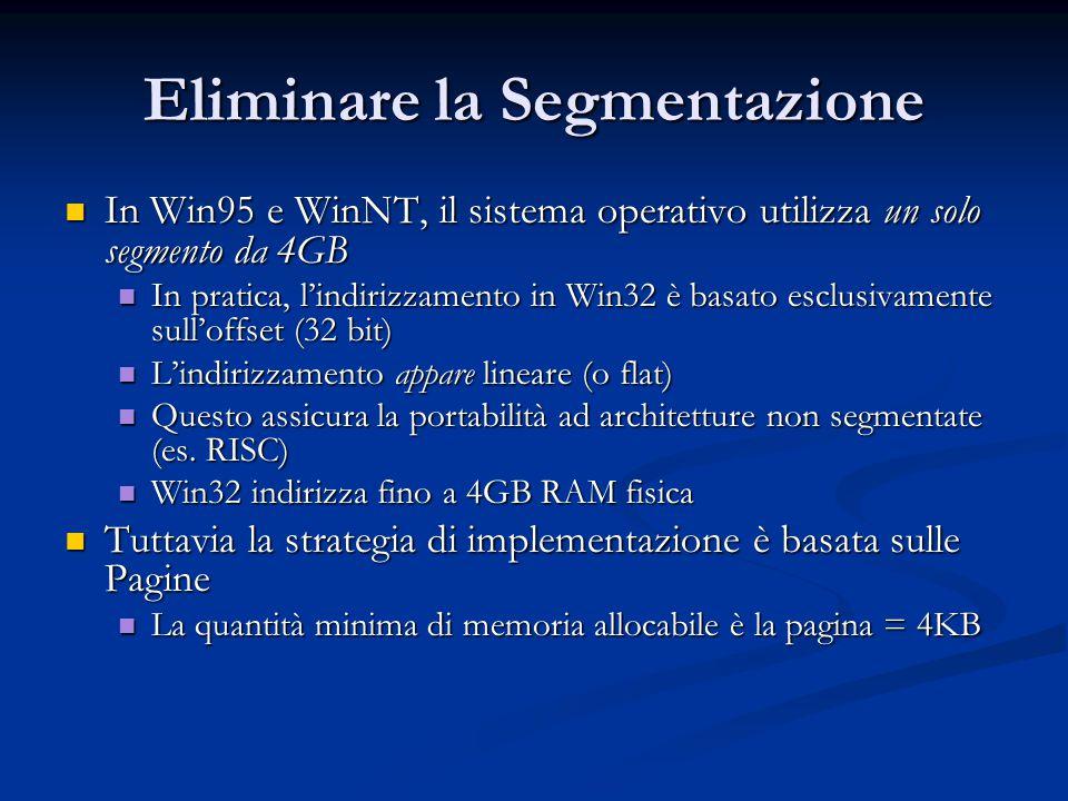 Eliminare la Segmentazione In Win95 e WinNT, il sistema operativo utilizza un solo segmento da 4GB In Win95 e WinNT, il sistema operativo utilizza un