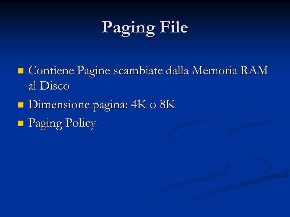 Paging File Contiene Pagine scambiate dalla Memoria RAM al Disco Contiene Pagine scambiate dalla Memoria RAM al Disco Dimensione pagina: 4K o 8K Dimen