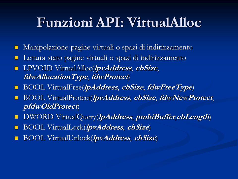 Funzioni API: VirtualAlloc Manipolazione pagine virtuali o spazi di indirizzamento Manipolazione pagine virtuali o spazi di indirizzamento Lettura sta