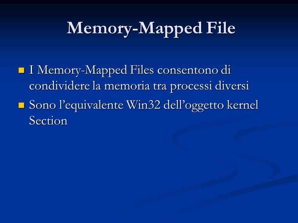 Memory-Mapped File Memory-Mapped File I Memory-Mapped Files consentono di condividere la memoria tra processi diversi I Memory-Mapped Files consentono