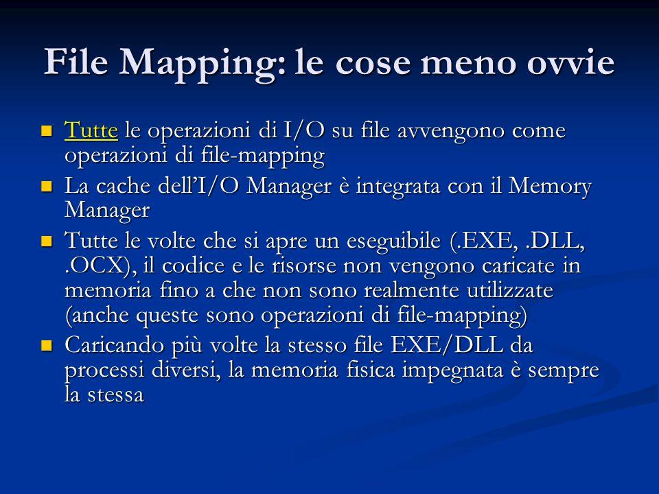 File Mapping: le cose meno ovvie Tutte le operazioni di I/O su file avvengono come operazioni di file-mapping Tutte le operazioni di I/O su file avven