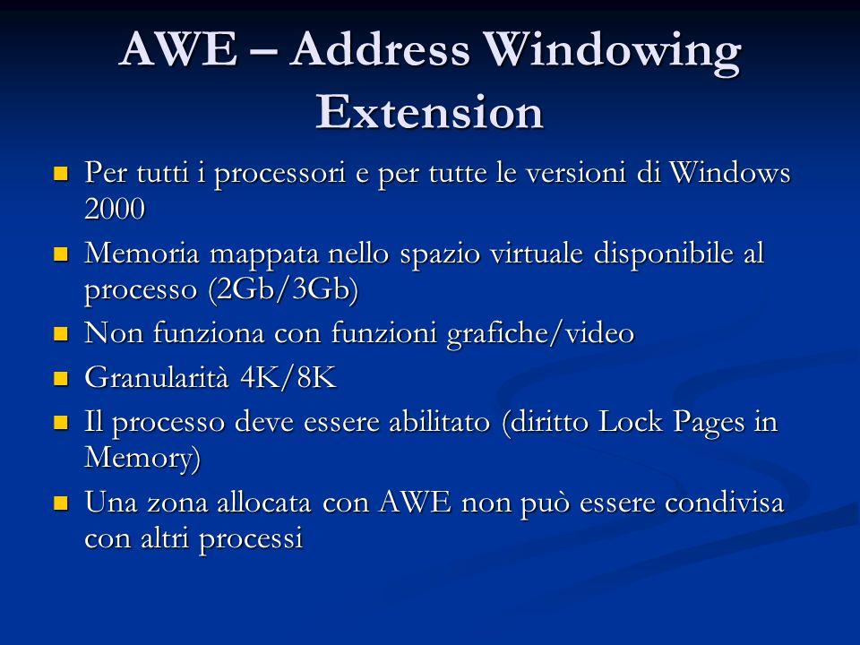 AWE – Address Windowing Extension Per tutti i processori e per tutte le versioni di Windows 2000 Per tutti i processori e per tutte le versioni di Win