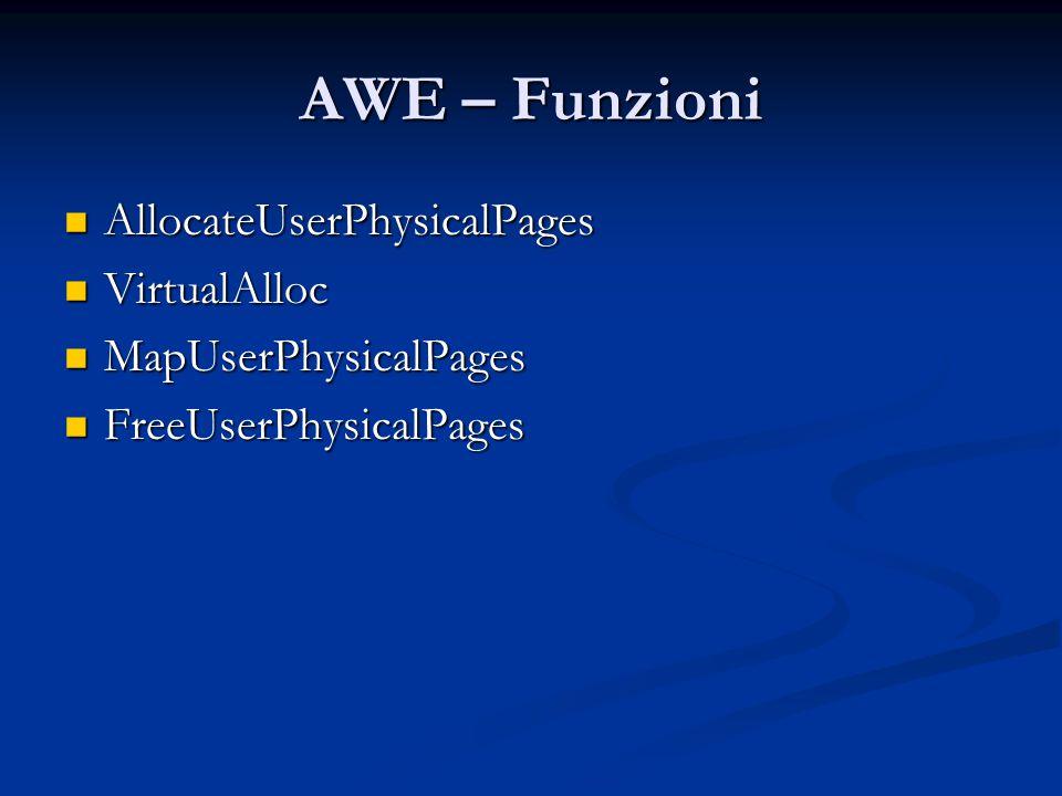 AWE – Funzioni AllocateUserPhysicalPages AllocateUserPhysicalPages VirtualAlloc VirtualAlloc MapUserPhysicalPages MapUserPhysicalPages FreeUserPhysica