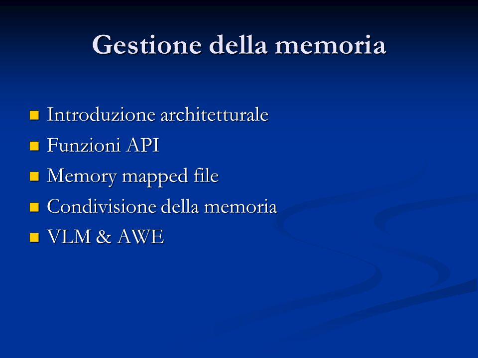 Gestione della memoria Introduzione architetturale Introduzione architetturale Funzioni API Funzioni API Memory mapped file Memory mapped file Condivi