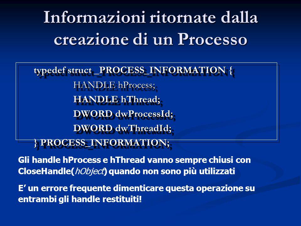 Informazioni ritornate dalla creazione di un Processo typedef struct _PROCESS_INFORMATION { HANDLE hProcess; HANDLE hThread; DWORD dwProcessId; DWORD