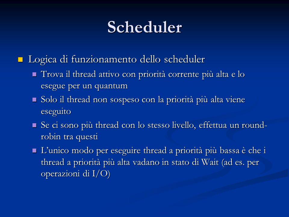 Scheduler Logica di funzionamento dello scheduler Logica di funzionamento dello scheduler Trova il thread attivo con priorità corrente più alta e lo e