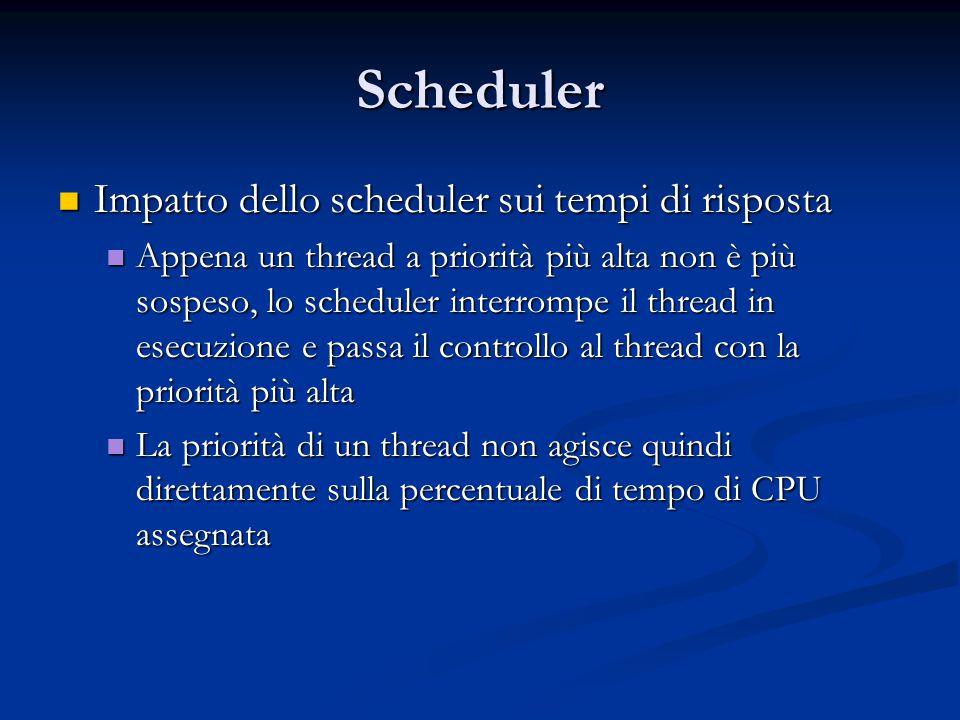 Scheduler Impatto dello scheduler sui tempi di risposta Impatto dello scheduler sui tempi di risposta Appena un thread a priorità più alta non è più s