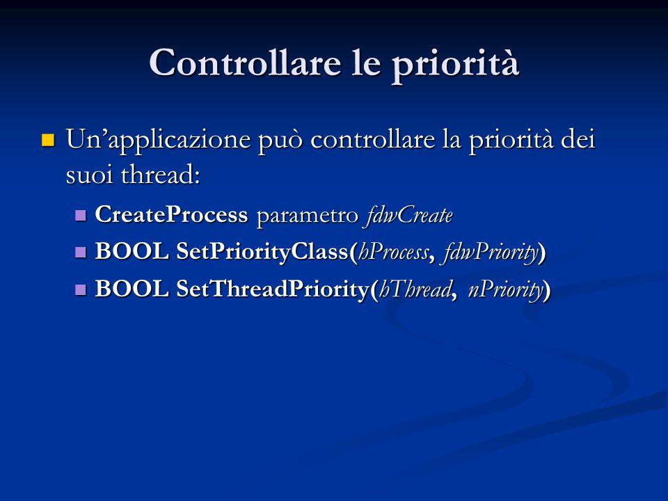 Controllare le priorità Un'applicazione può controllare la priorità dei suoi thread: Un'applicazione può controllare la priorità dei suoi thread: Crea