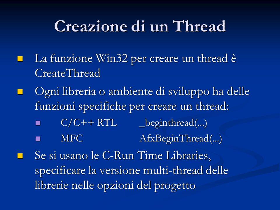 Creazione di un Thread La funzione Win32 per creare un thread è CreateThread La funzione Win32 per creare un thread è CreateThread Ogni libreria o amb