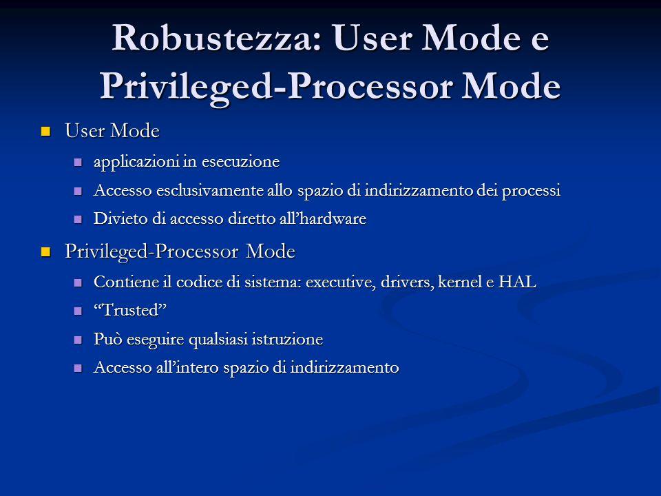 Robustezza: User Mode e Privileged-Processor Mode User Mode User Mode applicazioni in esecuzione applicazioni in esecuzione Accesso esclusivamente all