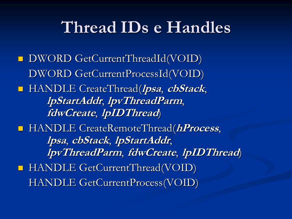 Thread IDs e Handles DWORD GetCurrentThreadId(VOID) DWORD GetCurrentThreadId(VOID) DWORD GetCurrentProcessId(VOID) HANDLE CreateThread(lpsa, cbStack,