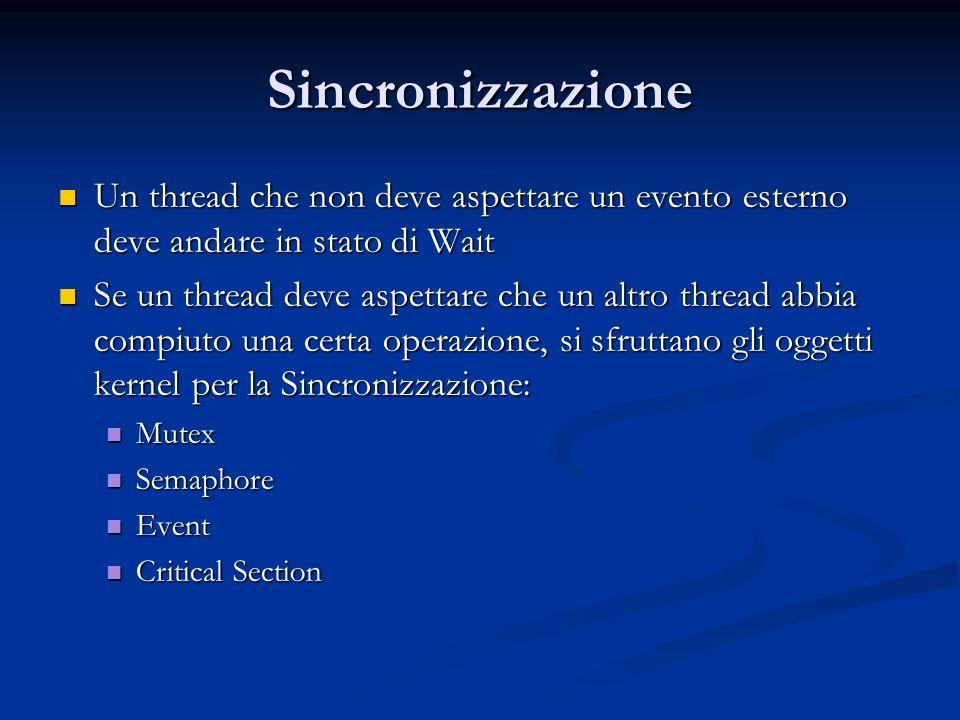 Sincronizzazione Un thread che non deve aspettare un evento esterno deve andare in stato di Wait Un thread che non deve aspettare un evento esterno de
